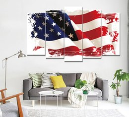 Wholesale united landscaping - The Flying Flag of The United States Frameless Paintings 5pcs(No Frame) Printd on Canvas Arts Modern Home Wall Art HD Print Painting