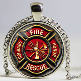 Wholesale Firefighter Jewelry - Hot Handmade Necklace for Firefighter Fashion Long Chain Firfighter Glass Pendant Necklace Classic Jewelry Gift