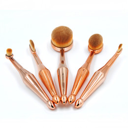 Wholesale 5 Mermaid Makeup brushes Oval Rose Gold Professional Soft beauty A full set of Toothbrush makeup Kits
