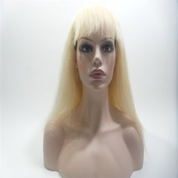 Wholesale Ombre Glueless Silk Top Wigs - 613# Human Hair 100% Complete Black Women Glueless Wig Cordon Ombre Brazilian Virgin Hair Color Human Hair Full Lace Wig Top Silk Weaving