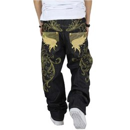 Wholesale Denim Pants Large - Wholesale-Men's fashion hiphop jeans loose plus size embroidery wings denim pants male large size hip hop long trousers Free shipping