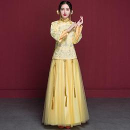 Wholesale Dress Wedding Suzhou - New ethnic clothing Especial Fashion Chinese bride wedding gown dress Golden cheongsam Suzhou embroidery female golden kimono
