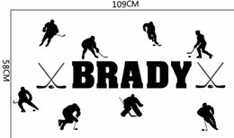 Wholesale Hockey Murals - Ice Hockey Custom You Name Vinyl Wall Decal Kids Room Decor Boys Rooms Art Mural Removable Wall Stickers DIY