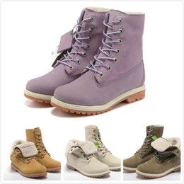 Wholesale Women S Genuine Leather Boots - Fashion Brand New Classic 17647 Premium Boots For Women High Quality Genuine Leather Winter Boots Purple\ Rice white\ Wheat Yellow Casual S