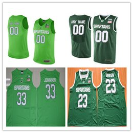 Mens Michigan State Spartans College Basketball Custom  1 3 23 33 45 Green  Stitched Personalized Any Name Any Number Jerseys S-3XL 88a6802ab