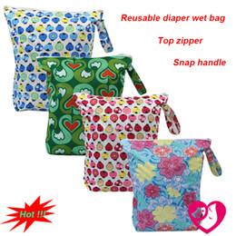 Wholesale Messenger Diaper Bag Wholesale - Wholesale-1PC Reusable Waterproof Printed PUL Diaper Wet Bag Double Pocket,Cloth Handle,33x40CM Wholesale Selling