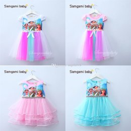 Wholesale Canvas Lines - 2017 new baby girls Moana bow dress summer cartoon Children Moana printing lace dresses Kids Clothing 4 colors C1860