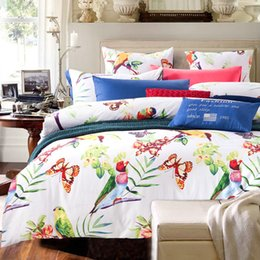 Wholesale Linen King Size Bedspread - Wholesale- American country Flowers and birds bedcover 4pcs bedding sets bed linen bedspread queen king size 100% Cotton Fast shipping