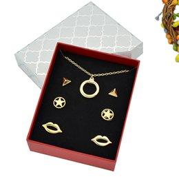 Wholesale Golden Studs - 3pairs set Fashion New Jewelry Sets Gold-Color Joyeria Pendant Necklace and Pentagram Stud Earrings for Women