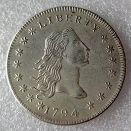 Wholesale Flowing Hair - United States Coins 1794 Flowing Hair Brass Silver Plated Dollar Smooth edge Copy Coin
