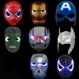 Wholesale Ironman Mask Led - LED Flash Mask Children Halloween Masks Glowing Lighting Mask Avengers Hulk Captain America Ironman Spiderman Party Mask CCA6772 100pcs