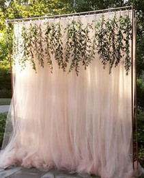 Wholesale Ivory Wedding Backdrops - 2017 Wedding Decorations Tulle White ivory Fushica Light Blue Screen Long 200cm*250cm custom made the size Curtain