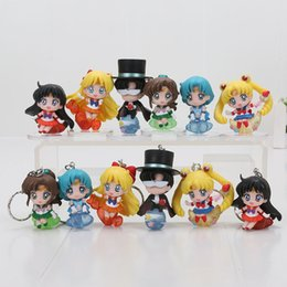 Wholesale Wholesale Kids Collectables - 6pcs set Sailor Moon Usagi Tsukino Sailor Mercury Keychain PVC Action Figure Collectable Model Toy for kids gift free shipping