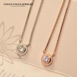 Wholesale Single Rose Pendants Necklaces - Wholesale- Rose Gold Color Brand Design Single 5mm Zirconia Inlaid Simple Lady Pendant Necklace Wholesale
