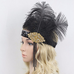 Wholesale Black Feather Headpieces - HOT SALE ! Hair Accessories Rhinestone Beaded Sequin Hair band 1920s Vintage Gatsby Party Headpiece Women Flapper Feather Headband 6PCS