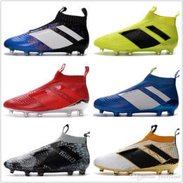 Wholesale Cheap Football Cleats Sale - 2017 Discount Cheap Wholesale Discount ACE 16+ PureControl FG Soccer Shoes Men Soccer Cleats Top Quality Hot Sale EuroCup Free Drop Shipping
