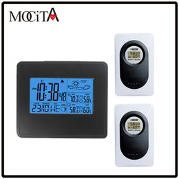 Wholesale Digital Wireless Weather - MOCITA Wireless Weather Station Black with Digital Alarm Clock Indoor Outdoor Temperature Humidity with 2 Remote Transmitter
