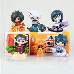 Wholesale Nendoroid Naruto - 6pcs set Naruto cartoon figure Uzumaki Naruto Hatake Kakashi Nendoroid Q Ver. collection anime model dolls with box T7598