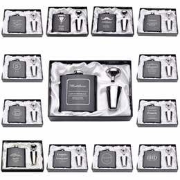 Wholesale Wedding Gift Flask - Wholesale- 1 Set Personalized Engraved 6oz Hip Flask Stainless Steel With White & Black Box Birthday Valentine's Day Gift Wedding Favors