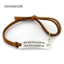 Wholesale Wholesale Love Word For Bracelet - Fashion Adjustable Inspirational Alloy Bracelet with Love Words You Are My Sunshine as Gift for Lovers 30pcs lot,Free Shipping