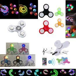 Wholesale Day Light Led Bulb - Ship 1 Day + LED lights hand spinner Bluetooth fidget Spinner Crystal Led Finger Spinning Toys EDC Decompression Toys