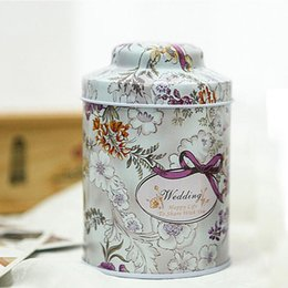 Wholesale Vintage Tin Cans - Cylinder Metal Tin Vintage Flower Design Tea Tins Mini Box Tinplate Cans Candy Boxes Zakka Cable Organizer Container ZA1895