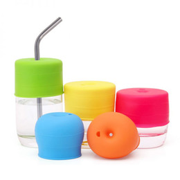 Wholesale Drinking Caps - BPA Free Safe Silicone Sippy Lids Leak Proof Food Grade Silicone Mug Cup Lids Cap Drinking Straw Sippy Lids for Baby Cups Multi Colors