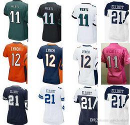 Wholesale Size 11 Women S - 2017 Women's Jerseys 21 Ezekiel Elliott Paxton Lynch 12 Carson 11 Wentz pink Ladies Girls Stitching Embroidery jersey size s-xxl