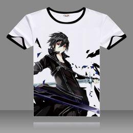 Wholesale Sword Art Online Sao - 2017 Sword Art Online Cosplay T-shirts SAO Black O-Neck Short Sleeve Kirigaya Kazuto Print Shirt Yuuki Asuna Men Top Summer Tees
