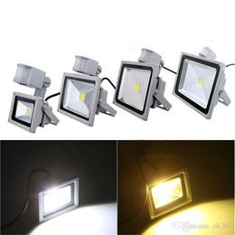 Wholesale Outdoor Light Pir - 110V 220V 10W 20W 30W 50W PIR LED Flood light White Warm Floodlight Motion Sensor A85V-265V Outdoor Garden Lamp LED wash light