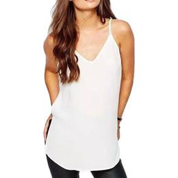 Wholesale Transparent Loose Shirt - Wholesale-Women sexy Spaghetti Strap tees summer V-neck camis shirts sexy camisas femininas side split casual loose transparent tops WT203