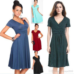 Wholesale Womens Vintage Rockabilly Pinup - Womens Vintage Pinup Rockabilly Bow V Neck Polka Dot Career Casual Work Party Sheath Wiggle Pencil Dress 2901