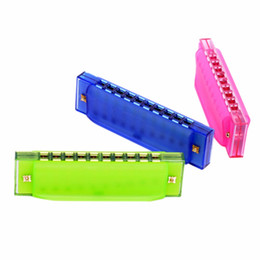 Wholesale Gifts For Music Lovers - Wholesale-10 Holes Random Color Harmonica Diatonic Blues Harp Translucent Mouth Organ Key of C Musical Instrument Gifts For Music Lover