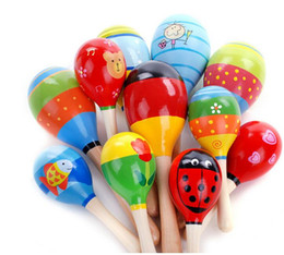 Wholesale Mini Wooden Maracas - Colorful 11cm Sand Hammer Rattle Infant Mini Wooden Maracas classic baby leaning education toys Baby Shaker early educational toys