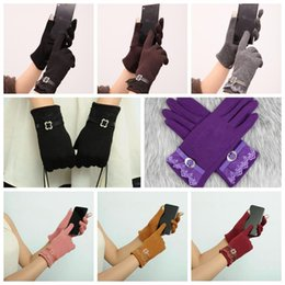 Wholesale Womens Winter Mittens - 7 Colors Womens Touch Screen Gloves Ladies Winter Warm Elegant Lace Splice Warm Gloves Riding Cashmere Mittens 2pcs pair CCA7921 300pair