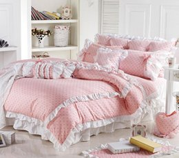 Wholesale Queens Girls Bedding - Wholesale- Cute Korean Pink Polka Dot Comforter Sets Romantic White Lace Girls Princess Duvet Cover Set Designer Fairy Bedding Sets