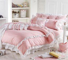 Wholesale Girls Comforters Sets - Wholesale- Cute Korean Pink Polka Dot Comforter Sets Romantic White Lace Girls Princess Duvet Cover Set Designer Fairy Bedding Sets