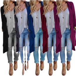 Wholesale Long Sweater Coat Sales - 2016 Hot Sale Autumn Winter Fashion Women Loose Knit Waterfall Cardigan Jacket Long Sleeve Irregular Sweater Coat Plus Size KF5116