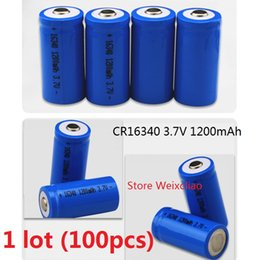 Wholesale Rechargeable Lithium Battery Cr123a - 100pcs 1 lot 16340 CR123A 3.7V 1200mAh lithium li ion Rechargeable Battery 3.7 Volt li-ion batteries free shipping