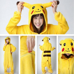 Wholesale flannel pajamas xl - Lovely Pikachu Fashion Yellow Outfit Pajamas Kigurumi Cosplay Costume Flannel Pyjamas Onesies Adult Romper Fancy Nightwear CCA7005 10pcs
