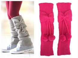 Wholesale Cute Boots For Girls - Wholesale- Fashion Neon Girls Leg Warmers Knit Bowknot Boot Socks Ball Boot Cuffs For Children Cute Boot Toppers Legwarmers Beenwarmers