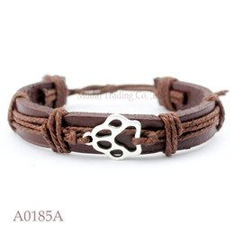 Wholesale Charm Antique Cat Silver - ANTIQUE SILVER DOG PAW CAT PAW CHARM Adjustable Leather Cuff Bracelets for Men & Women Friendship Casual Jewelry