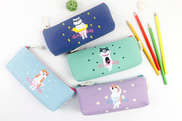 Wholesale Pencil Case Dog - Wholesale- 1Pcs set Kawaii a Single Dog Canvas Large Capacity Pencil Bag Stationery Storage Organizer Case School Supply