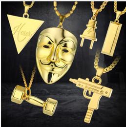 Wholesale Gold Silver Necklace Men - 2017 New Punk Mask Plug Supreme Gold Silver Metal Submachine Hatet Maxi Pistol Necklace & Pendants Hip Hop Jewelry for Men Women