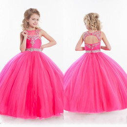 Wholesale Girls Pageant Dress Sweep Train - New 2017 Girls Pageant Dresses Fuchsia Tulle Illusion Crystal Beaded Sleeveless Kids Flower Girls Dress Ball Gown Cheap Birthday Gowns
