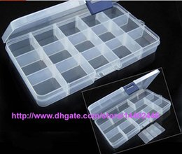 Wholesale Tiny Plastic Storage Boxes - 120pcs lot Adjustable Compact 15 Grids Compartment Plastic Tool Container Storage Box Case Jewelry Earring Tiny Stuff Boxes Containers.