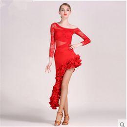 Wholesale latin salsa dance skirts - Black Adult Girl Latin Dance Dress Salsa Tango Chacha Ballroom Competition Dance Dress Lace Stitching Long Sleeve Top+Irregular Skirt Suit