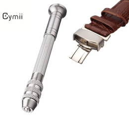 Wholesale Drilling Table Watch - Wholesale- Cymii Round Steel To Take The Four-headed Hand Twist Drill Repair Table Tools Watch Straps Watchbands Repair Tool Kits