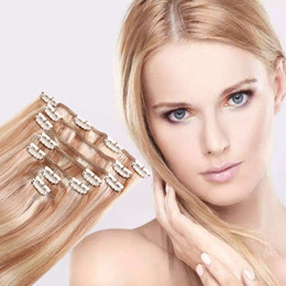 Wholesale Extension Hair Clip 27 - Best quality European human clip in hairs mix color 613 27 120g 7pcs straight wave full head clip in hair extensions