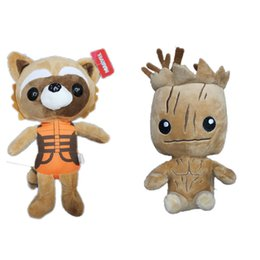 Wholesale Galaxies Video - 100pcs Guardians of the Galaxy Tree People Groot Rocket Raccoon Stuffed Animal Plush Dolls For Children EMS Free